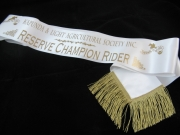 White Reserve Champion Rider Shoulder Sash