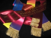 Rainbow Sash & Burgundy Sash with Gold Lurex Fringe