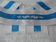 White/Turquoise/White Tri-Sash